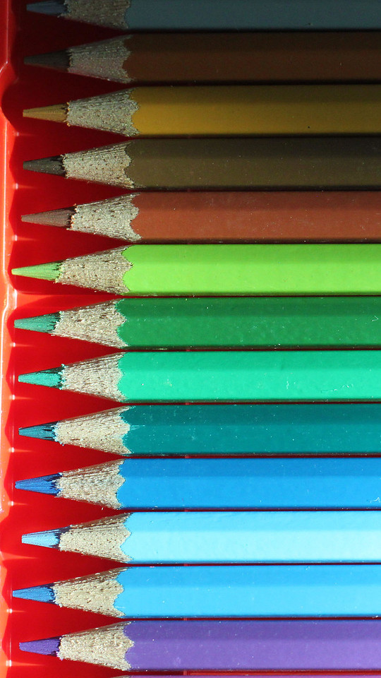 Color pencils: blue, green, and brown